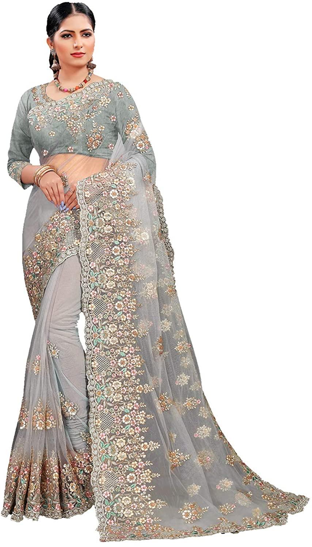 Indian Saree for Women Ethnic Sari Grey Sari with Unstitched Blouse. ICW2843-17