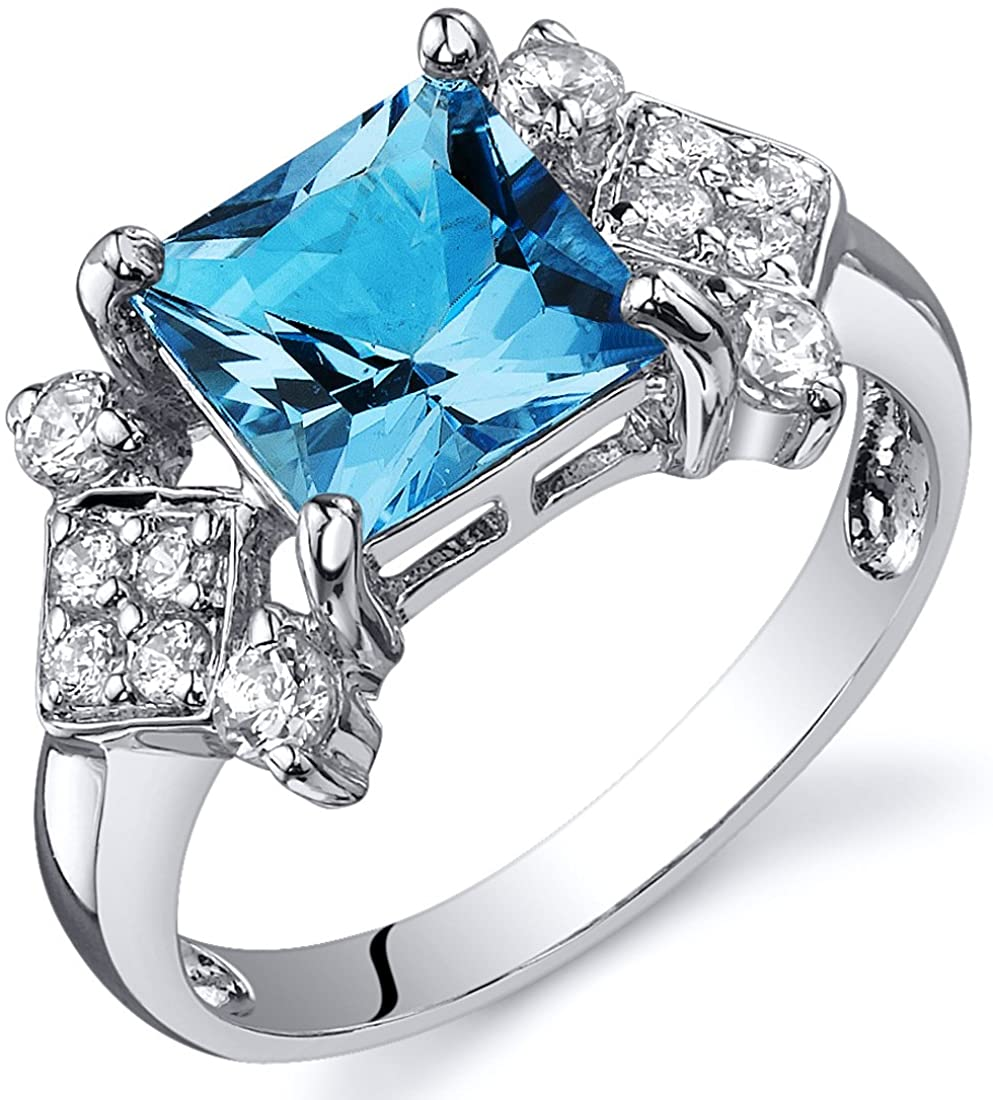 Swiss Blue Topaz Princess Cut Ring Sterling Silver Rhodium Nickel Finish 2.00 Carats Sizes 5 to 9