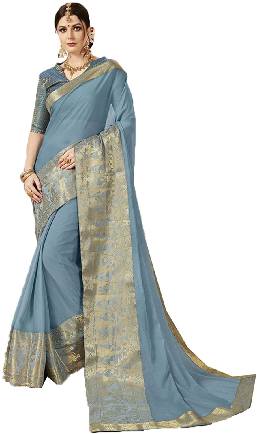 Saree for Women Bollywood Wedding Designer Grey Sari with Unstitched Blouse. ICW2559-4