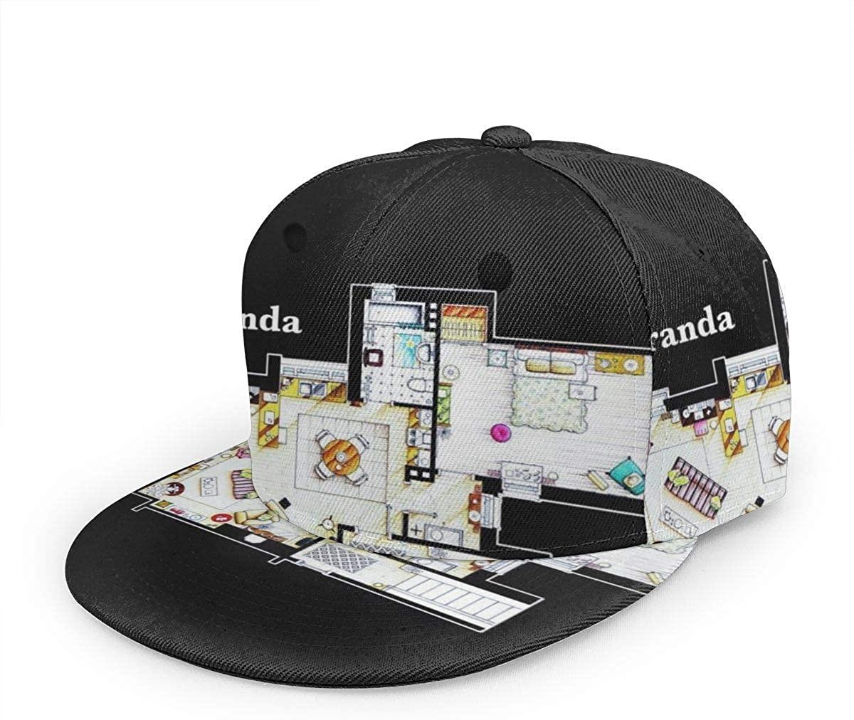 1003 Mirandas Apartment Floor Plan -Unisex Baseball Cap Printed Fashion Sport Pop Baseball Cap Black