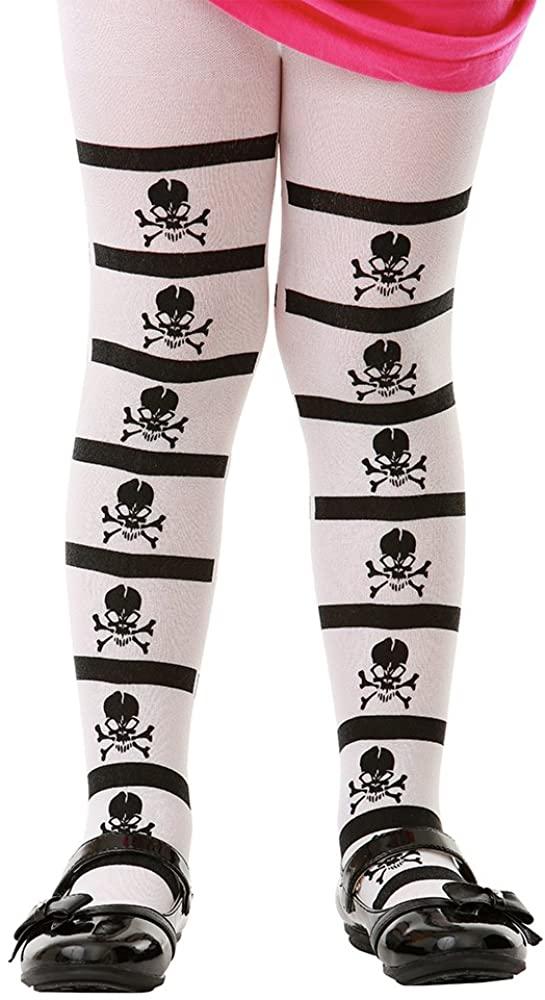 Pirate Skull & Crossbones Black Tights   Kids Halloween Costume Dress Stockings