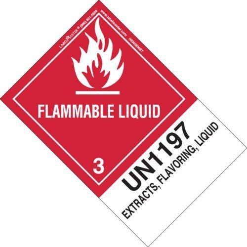 Labelmaster HSN5800ET Flammable Liquid Label, UN1197 Extracts, Flavoring, Liquid, Hazmat, 5.9