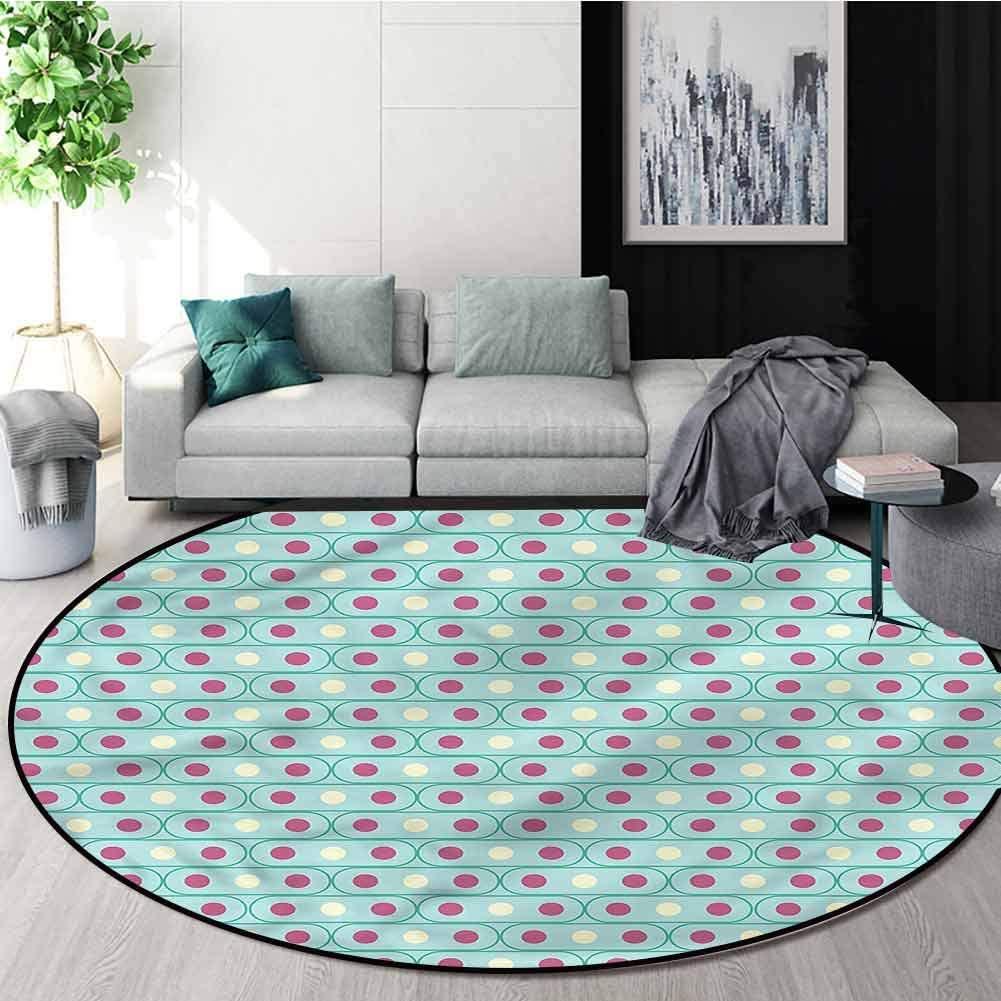 RUGSMAT Geometric Warm Soft Cotton Luxury Plush Baby Rugs,Pale Oval Shapes Non-Slip No-Shedding Kitchen Soft Floor Mat Round-59