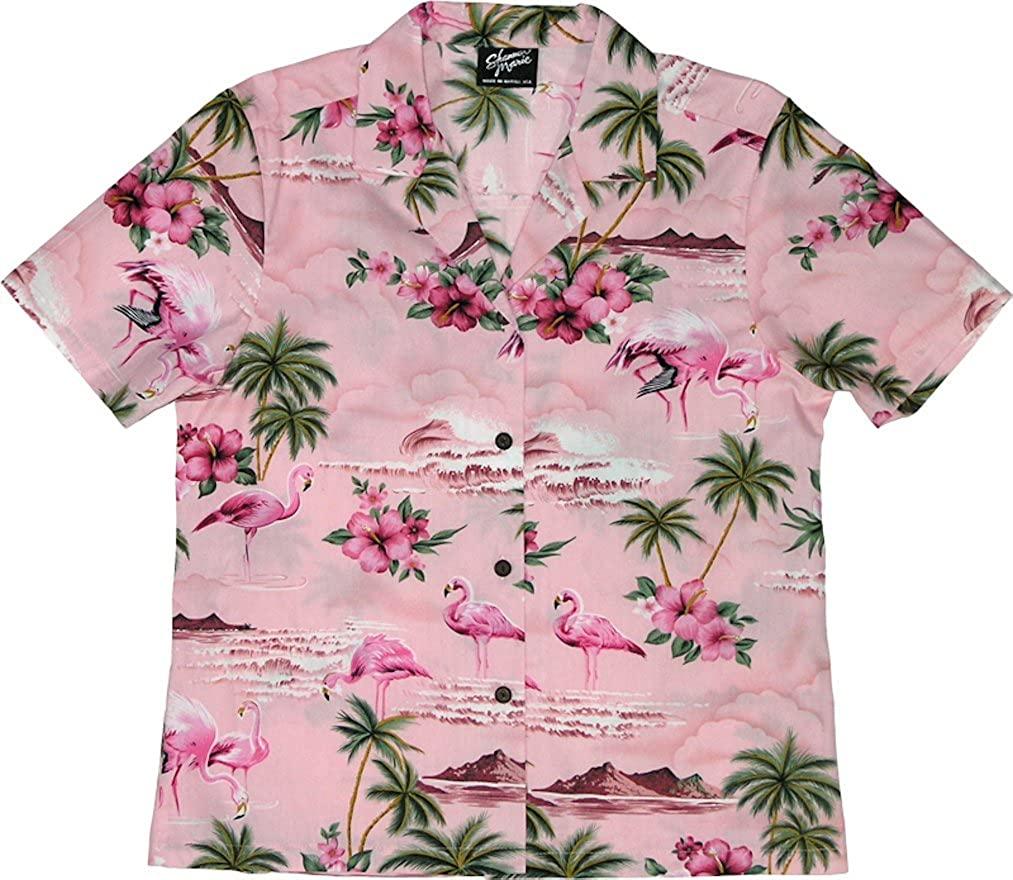 RJC Women's Flamingo Paradise Hawaiian Camp Shirt
