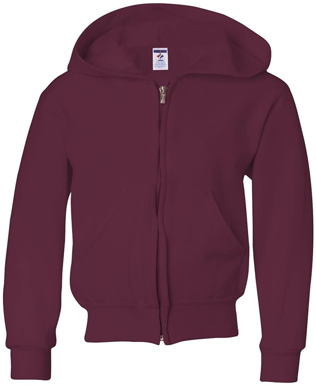 Jerzees Youth NuBlend Full-Zip Hooded Sweatshirt, Maroon, Medium