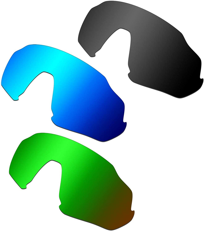 HKUCO Reinforce Replacement Lenses for Oakley Flight Jacket Blue/Black/Emerald Green Sunglasses