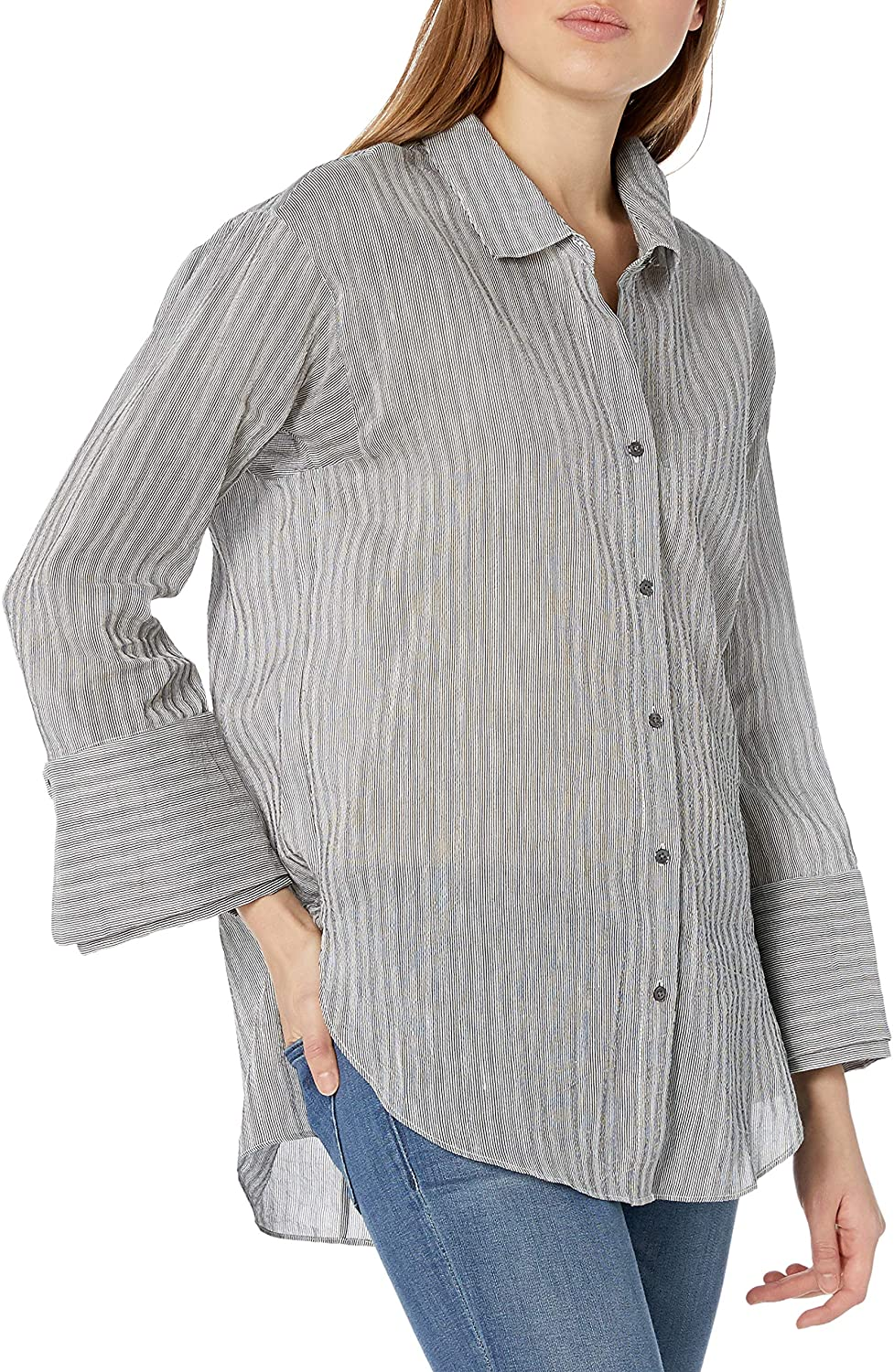 Halston Heritage Womens Long Sleeve Wide Cuff Stripe Shirt