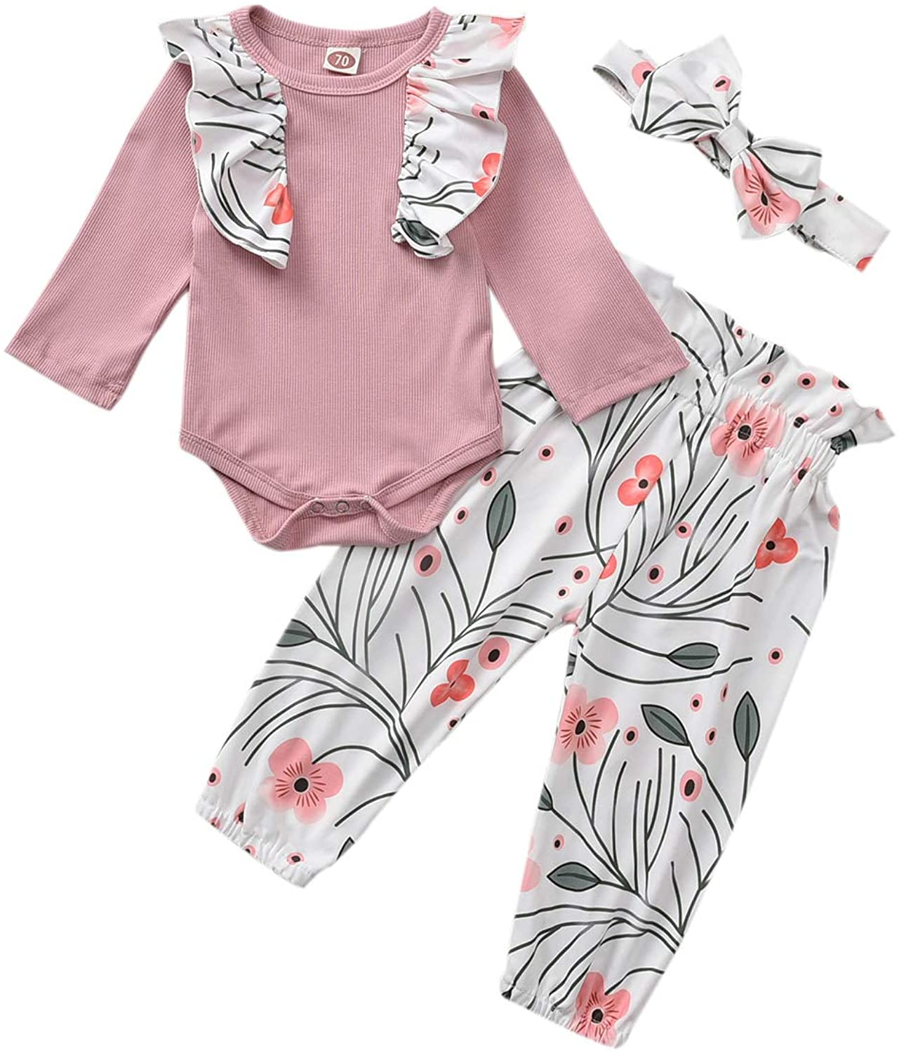 3PCS Baby Girls Long Sleeve Flowers Tops and Pants Outfit Ruffle Romper Bodysuit Floral Halen Pants Headband Outfits