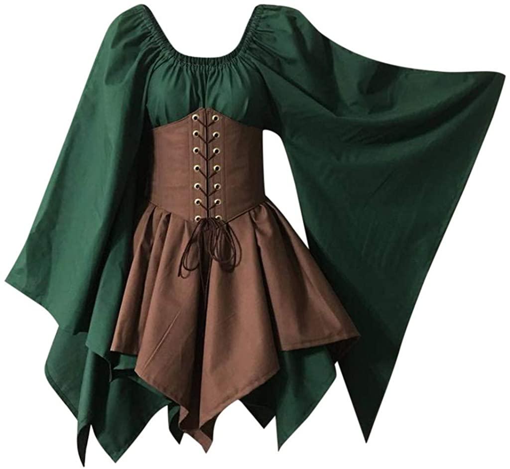 MoonHomen Retro Women Medieval Long Flare Sleeve Bandage Patchwork European Palace Dress