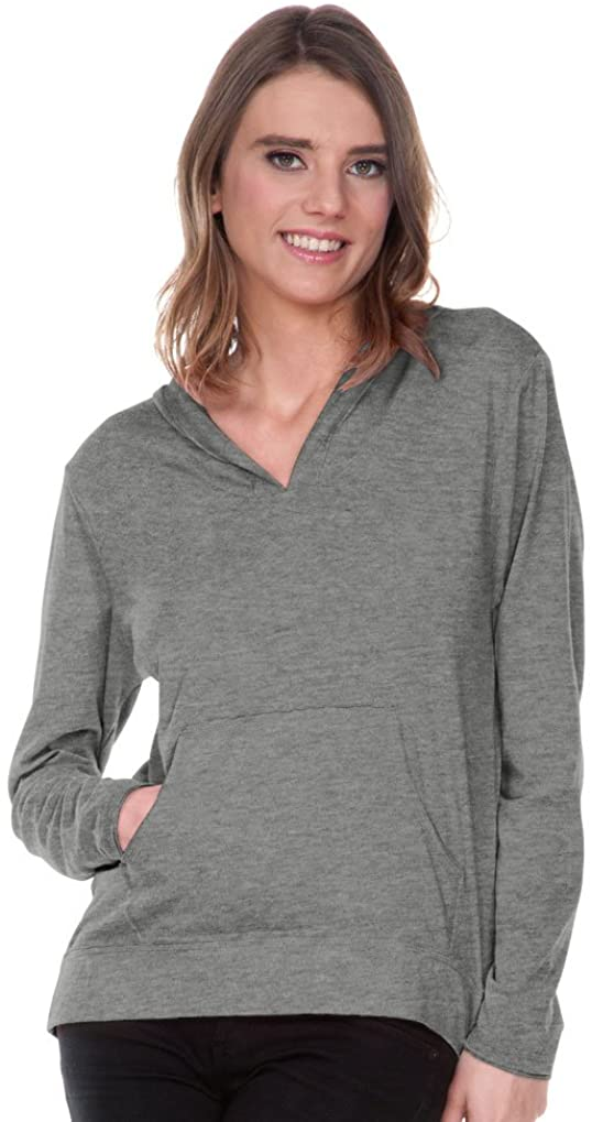 Kavio! Women Sheer Jersey Raw Edge High Low Long Sleeve Hoodie with Pouch