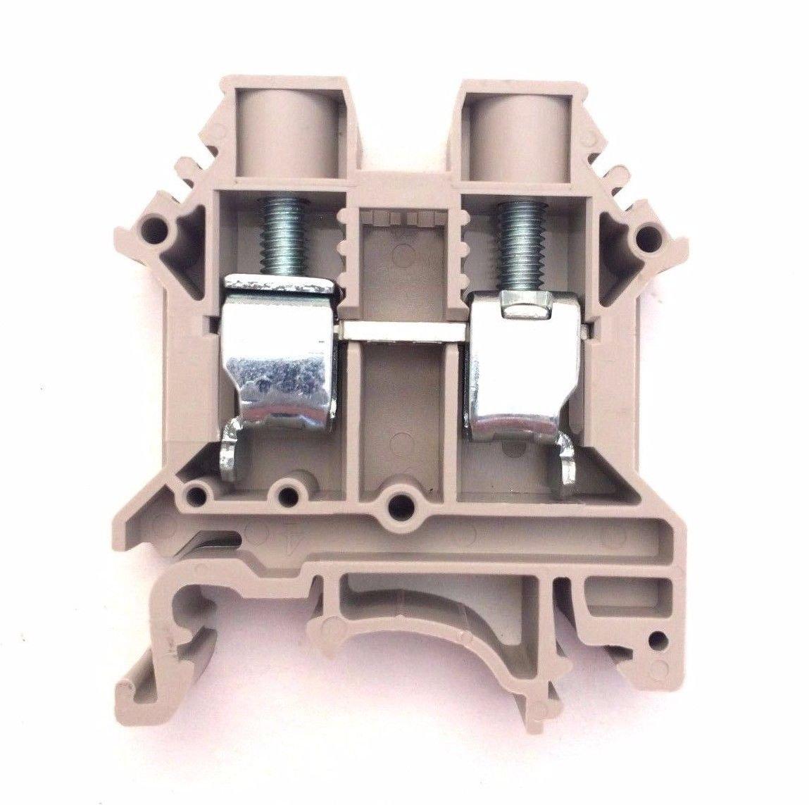 Dinkle DK10N DIN Rail Terminal Block Screw Type UL 600V 60A 6-20AWG, Pack of 50