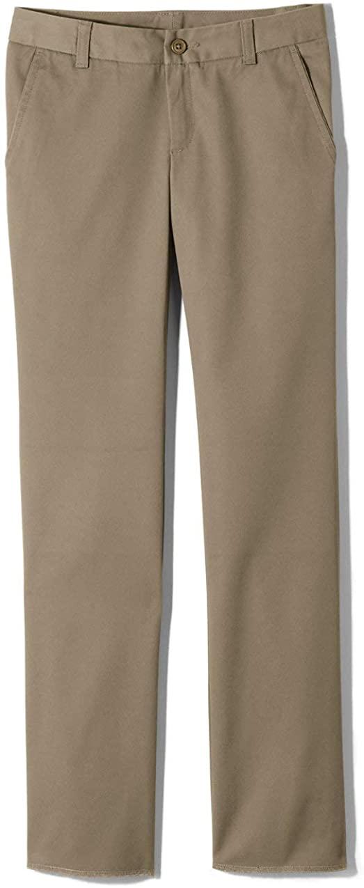 Lands' End School Uniform Little Girls Slim Iron Knee Blend Plain Front Chino Pants