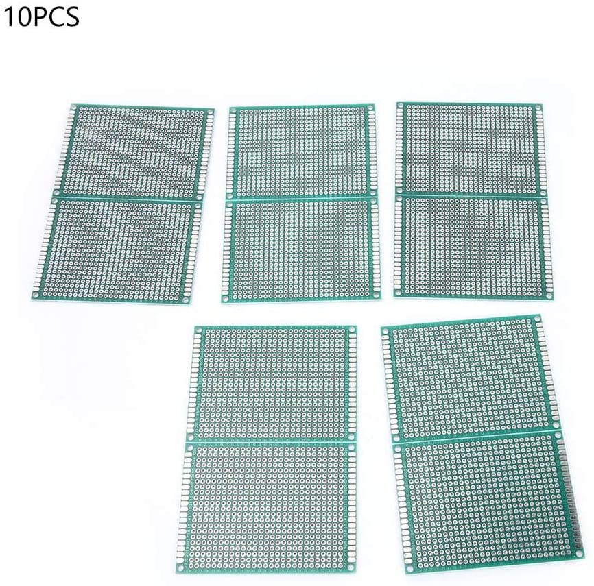 10PCS 6×8cm Breadboard Hole Pitch 2.54mm Thickness 1.6mm Hole Diameter 1.0mm±5% Double Side Prototype PCB Tinned Universal Circuit Board for Raspberry Pi and Arduino DIY Electronics kit