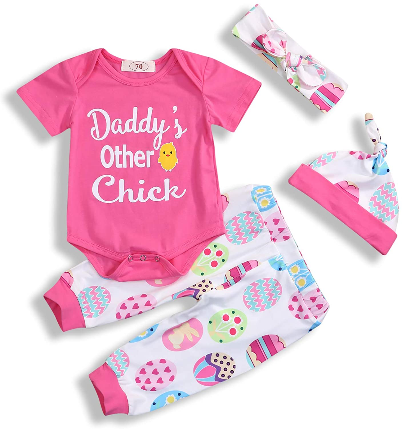 4Pcs Baby Girl Easter Outfits Sets Daddys Other Chick Easter Egg Easter Chick Print Romper Pants Hat Headband 0-18M