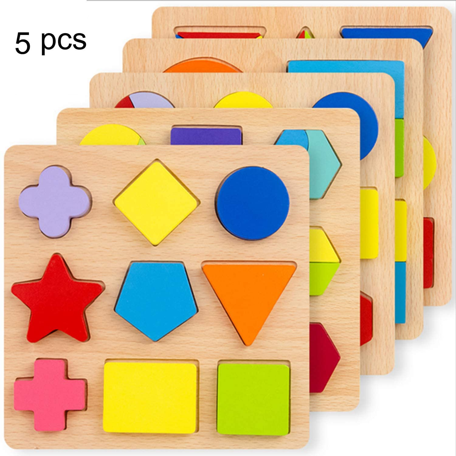 NA Wooden Preschool Colorful Shape Puzzle 5 of Set for Toddlers Baby First Jigsaw Puzzle Toys Shape Colour Sorting Matching Peg Puzzle Montessori Geometric Wooden Puzzle Early Educational Toys