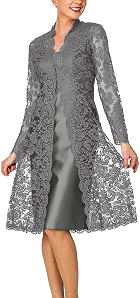Adeliber Women's Fashion Two-Piece Glamorous Solid Color Bride Mother Lace Dress