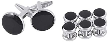Xennos Buttons - 8Pc Mens Tuxedo Shirt Decorative Buttons Cufflinks Set Stainless Steel Metal Button Stud Business Wedding Party Suit Accessories - (Color: Black Siliver)