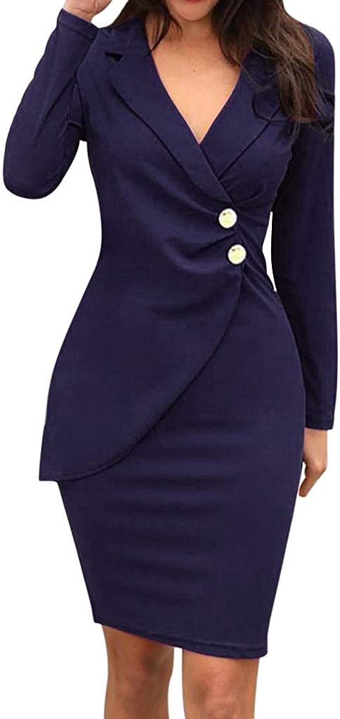 Ninasill Women Solid Turn Down Neck Long Sleeve Buttoned Casual Work Formal Dress