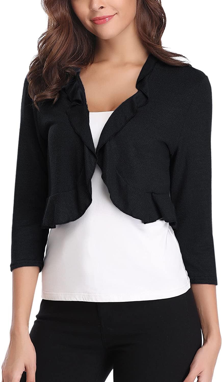 Abollria Women's Long Sleeve Cropped Bolero Shrug Ruffle Design Open Front Cardigan Black