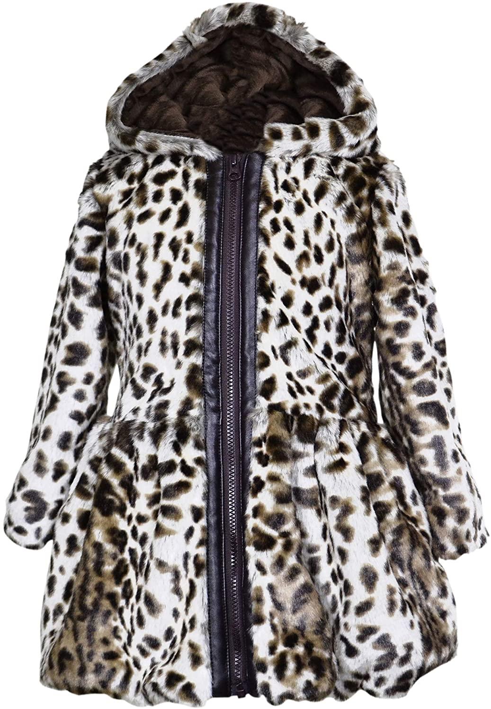 Widgeon Big Girls' Button Front Faux Fur Coat, Mocha Leopard, Size 5