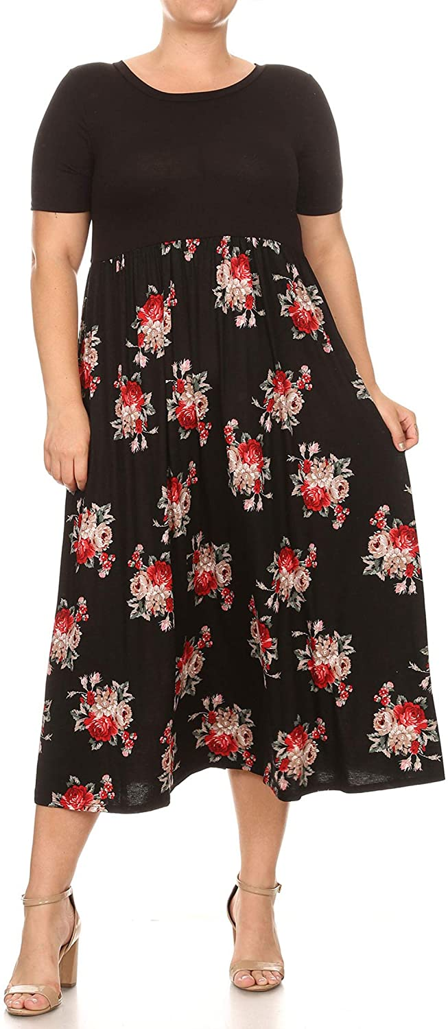 Women's Casual Pattern Print Contrast Skirt Plus Size Bodice Long Maxi Dress/Made in USA