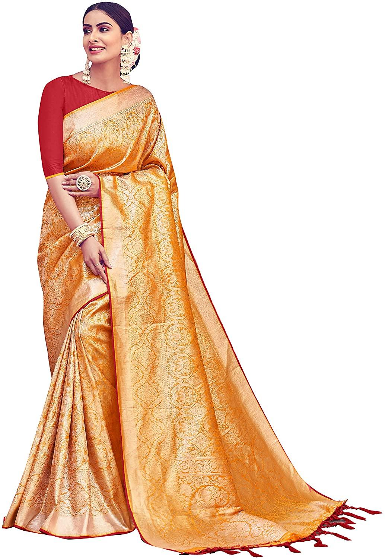 Sarees for Women Banarasi Art Silk Woven Saree || Ethnic Indian Traditional Wedding Gift Sari with Unstitched Blouse