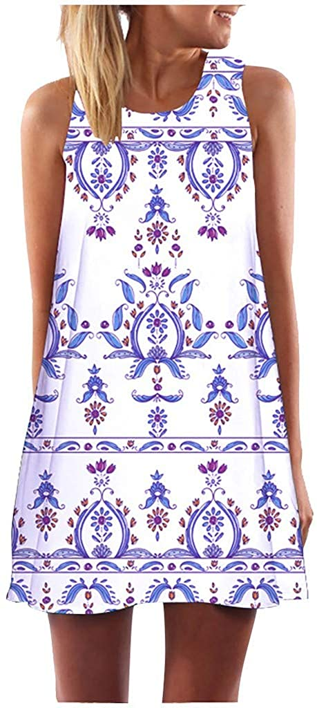 FRana Womens Summer Sleeveless Casual Swing Dress Boho Vintage Floral Print Casual Simple Tank Tunic Dresses