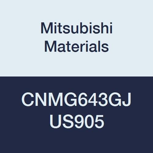 Mitsubishi Materials CNMG643GJ US905 CNMG Carbide CN Type Negative Turning Insert with Hole, Coated, Rhombic 80°, Grade US905, 0.75