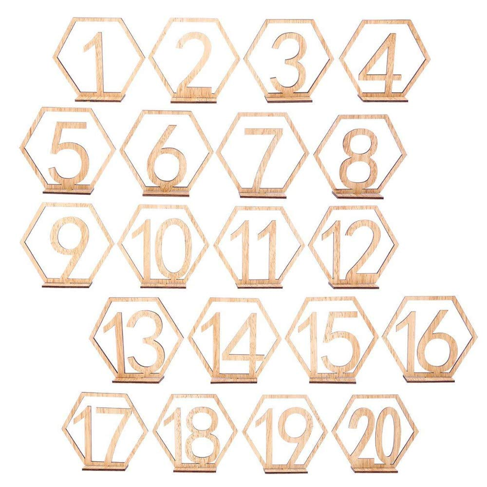 Wooden Table Numbers, 1-20 Wedding Table Numbers with Holder Base, Party Table Numbers Table Holder Perfect for Wedding, Party Reception, Birthday Party