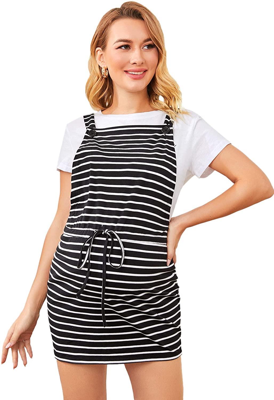 MakeMeChic Women's Maternity Overall Dresses Striped Print Tie Waist Short Dress