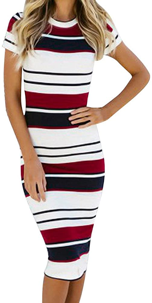❖ LATINDAY ❖ Women's Casual Crew Neck Short Sleeve Stripe Bodycon Pencil Dress