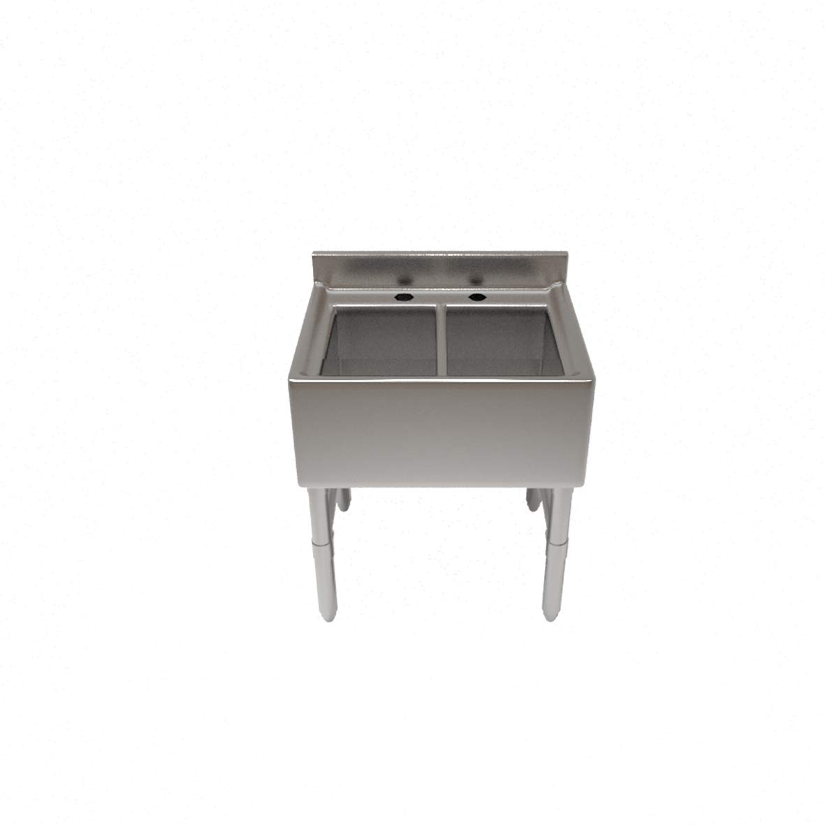 "Premium Underbar Sink, Two Compartment, 24""L x 21-1/4'W x 32-1/2'H, 18/300 Stainless Steel Construction, 10' Wide x 14' Front-to-Back x 10' deep compartments"