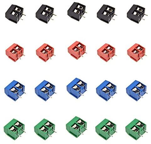 Davitu Terminals - 10PCS/LOT KF301 KF301-2P KF301-5.0-2P Screw Terminal 2Pin 5.0mm Straight Pin PCB Screw Block Connector Blue Green - (Color: Red)
