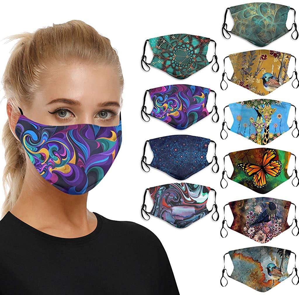 10PCS Womens Bandana Face Cover Reusable Washable Cloth Protection Fashion Fabric Dust Rewashable Balaclava Scarf