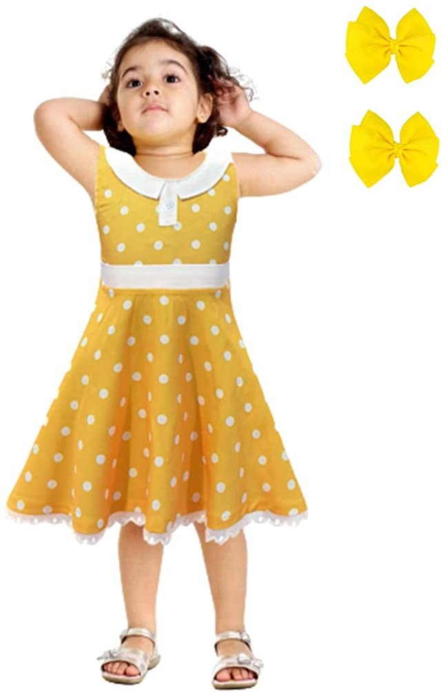 Rauoawby Girls Sleeveless Princess Dress - Vintage Polka Dot Fancy Outfit for Birthday Party Wedding Dress Up with Hair Clip