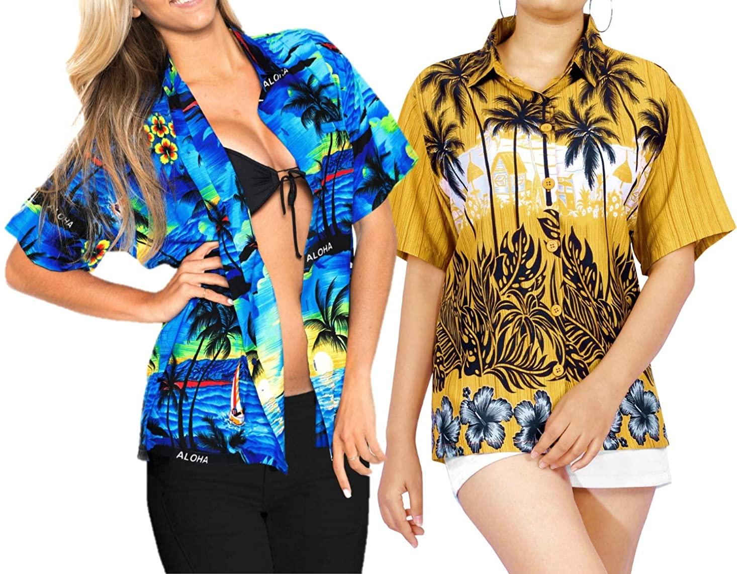 LA LEELA Women's Tropical Hawaiian Shirt Button Down Shirt Dress XXL Work from Home Clothes Women Blouse Pack of 2