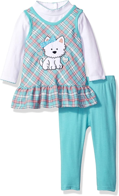 Youngland Baby Girls 3 Pc Set, Plaid Jumper, Knit Long Sleeve Top & Legging