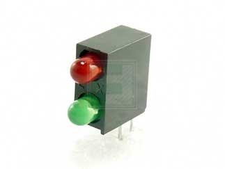 LUMEX SSF-LXH240IGD Red/Green 3 mm 60° Diffused 40/30 mcd 2/2.2 V Piggy Back Holder - T-1 - 25 item(s)