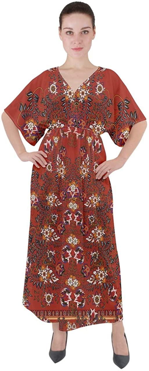CowCow Womens V-Neck Boho Style Maxi Dress Autumn Fall Pattern Tribal Aztec Patchwork Kimono Sleeve Dress