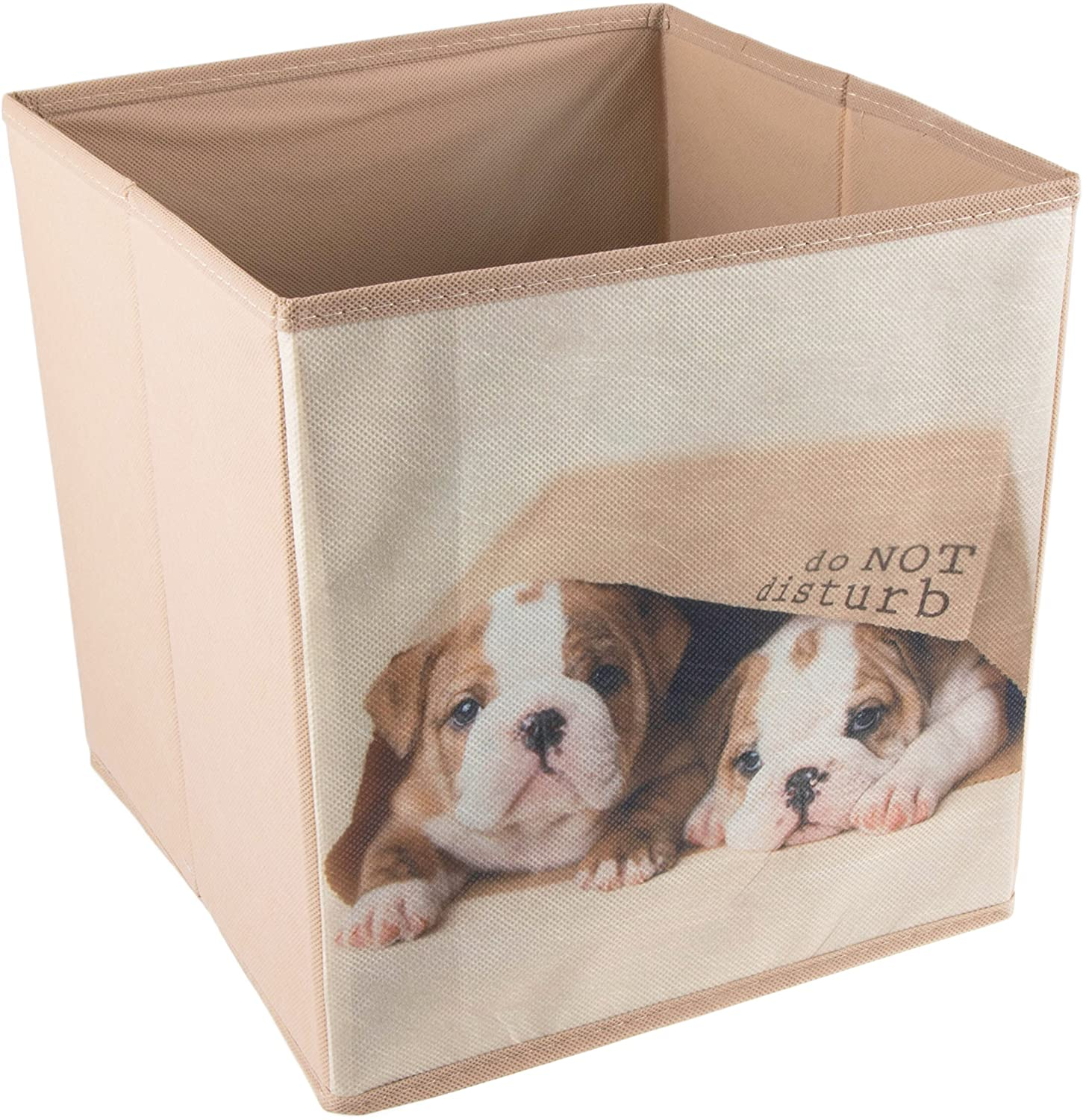 Clever Creations Cute Puppies in Bag Collapsible Storage Organizer Cube Folding Storage Organizer for Animal Themed Rooms | Perfect Size Storage Cube for Books, Shoes, Games