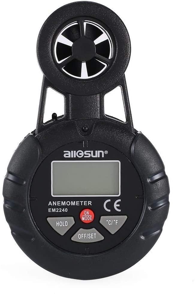 Yadianna Portable Scientific Digital Anemometer Thermometer Wind Air Speed Gauge Meter Windmeter Temperature Tester Poratable Measuring EM2240