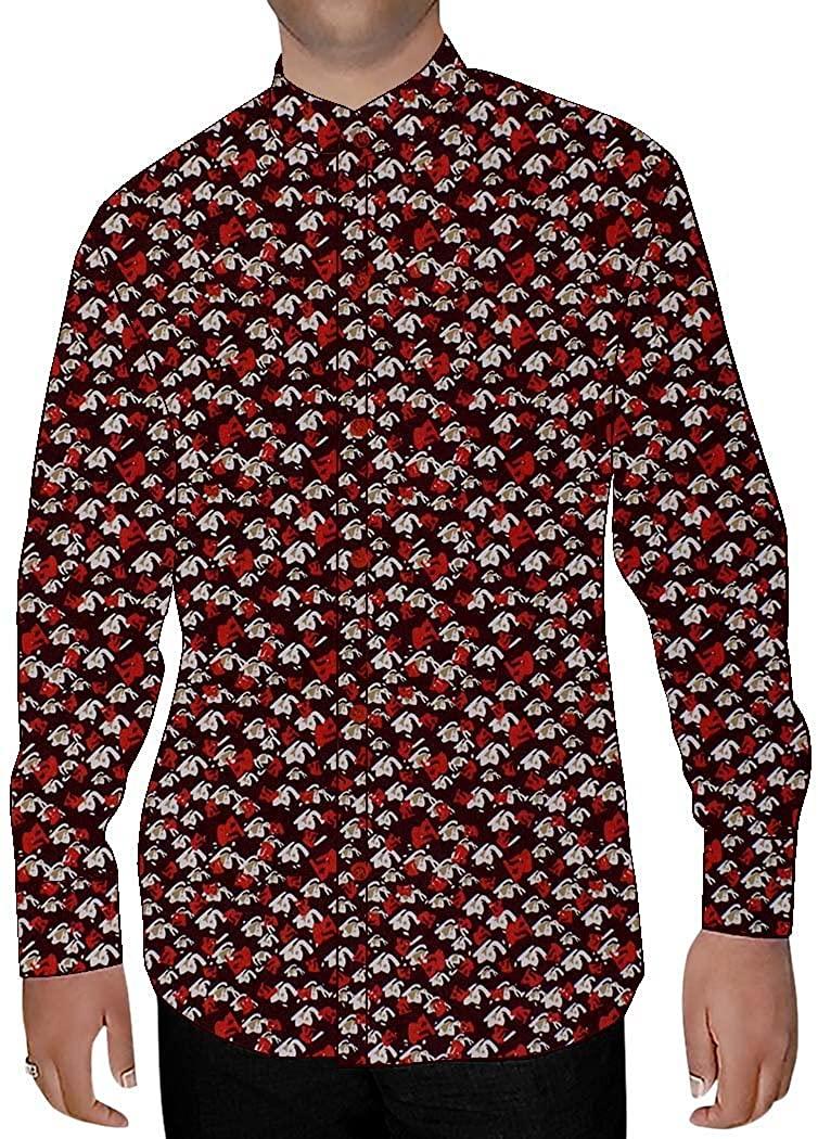 INMONARCH Mens Wine Printed Cotton Nehru Collar Shirt NSH14442CUSTOM-MADE Custommade Wine