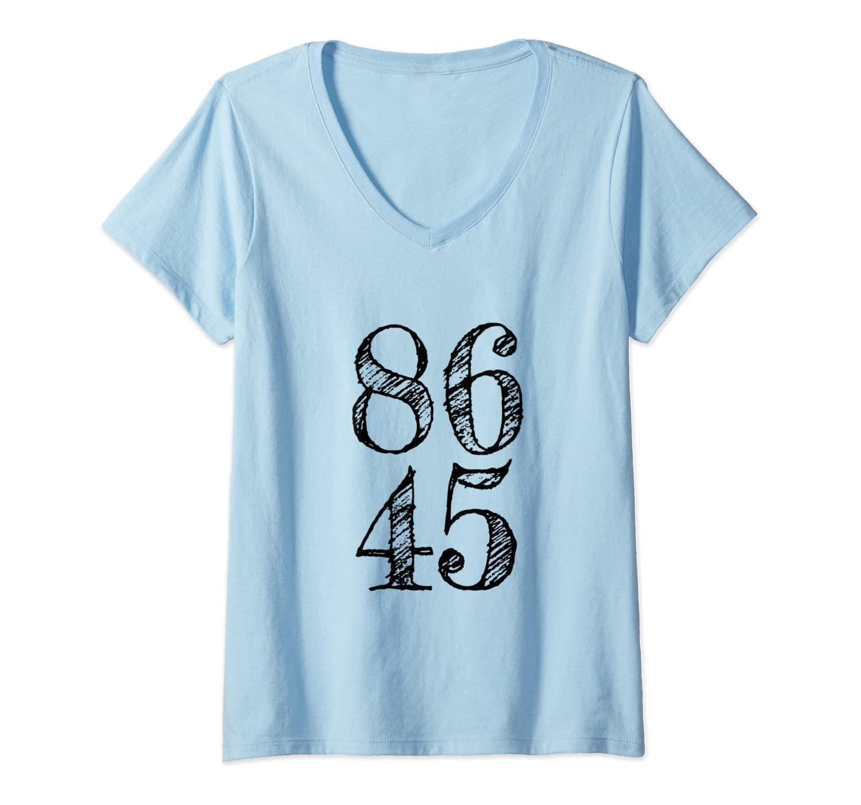Womens 86 45 2020 Anti Trump 8645 Impeach Trump V-Neck T-Shirt