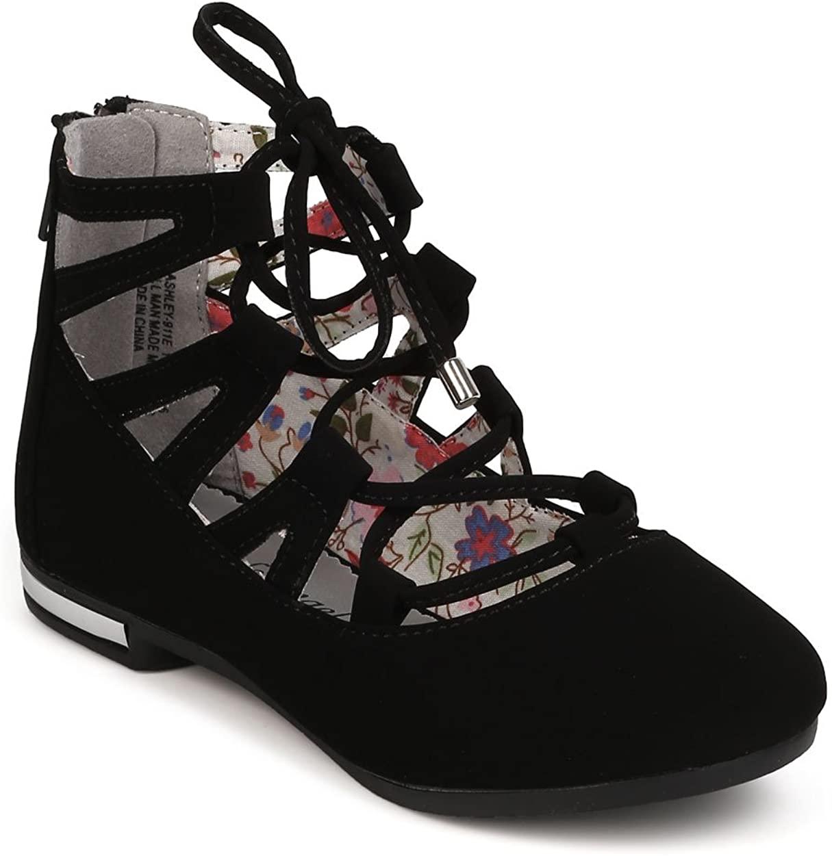 Alrisco Girls Nubuck Lace Up Ballet Flat HF96 - Black Nubuck (Size: Toddler 5)