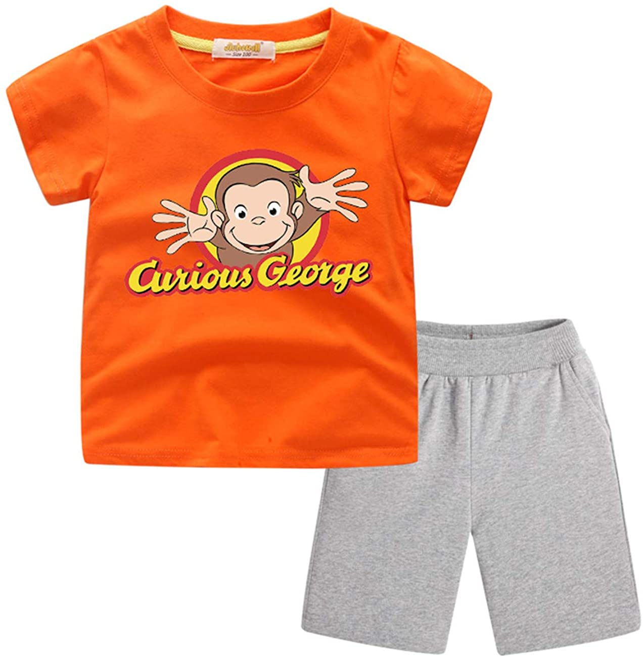 GD-fashion Curious George Short Clothes-Boys Girls Summer Tshirts Soft Cotton Tees and Shorts
