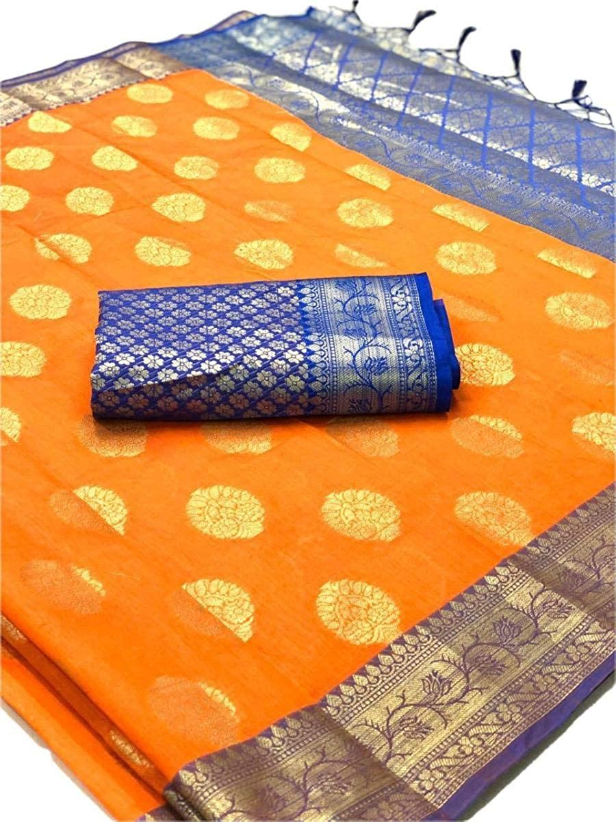 REKHA Collection Banarasi Silk Saree Party Wear Saree 190 Orange