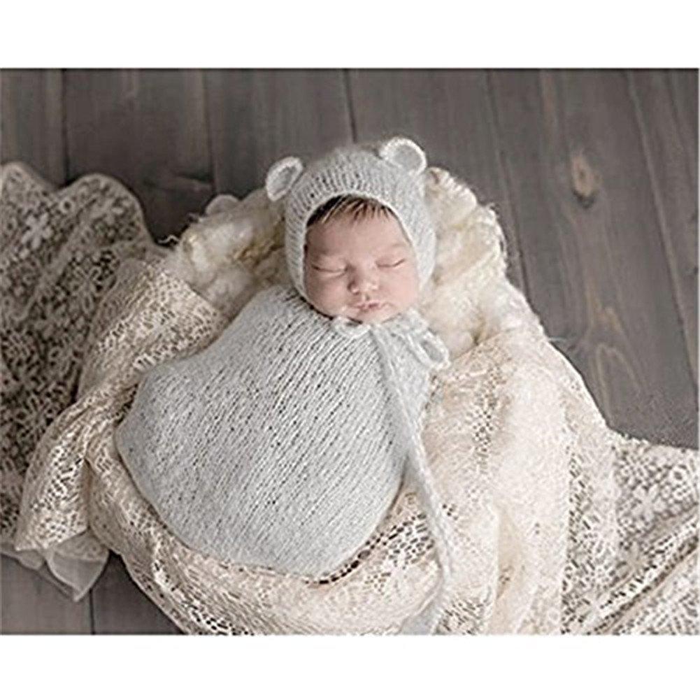 Fashion Newborn Boy Girl Baby Costume Knitted Photography Props Hat Sleeping Bag (Grey)