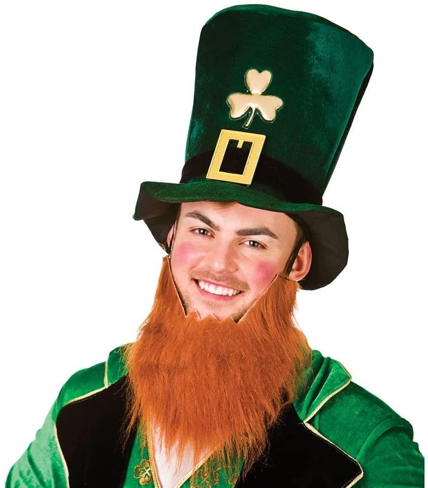 Leprechaun Hat with Beard Fancy Dress Accessory