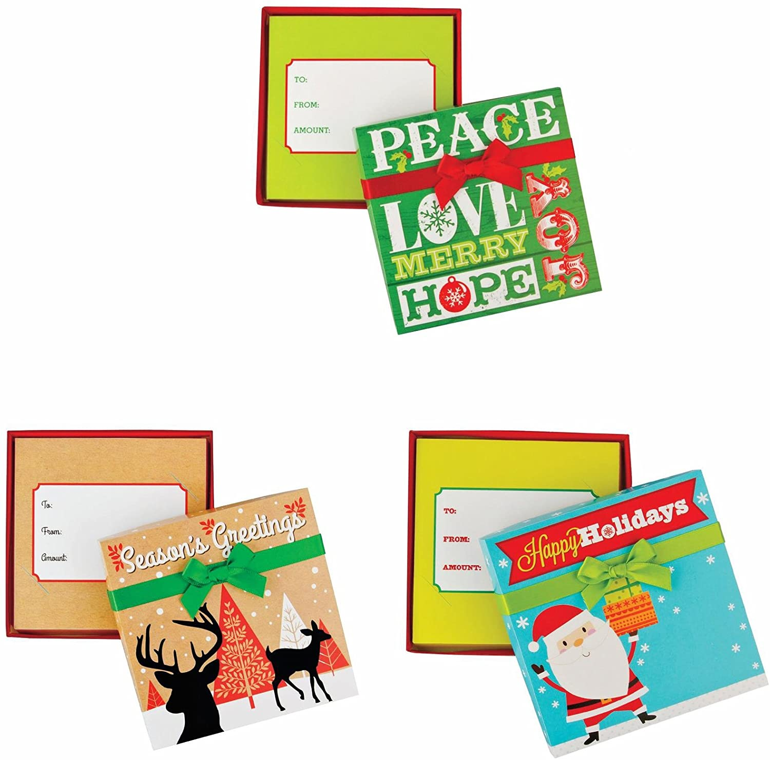 Pack of 3 Christmas Gift Card Holder Box with Decorative Ribbon for Small Gifts or Gift Cards with Santa, Reindeer, Xmas Tree