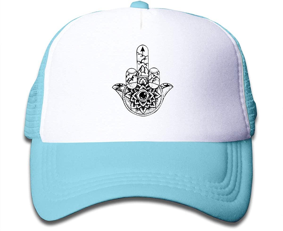 Alin-Z Hamsa Middle Finger Up Children's Adjustable Mesh Hats Baseball Trucker Cap for Boys and Girls